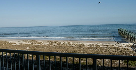 View to the Atlantic ocean from a third floor balcony