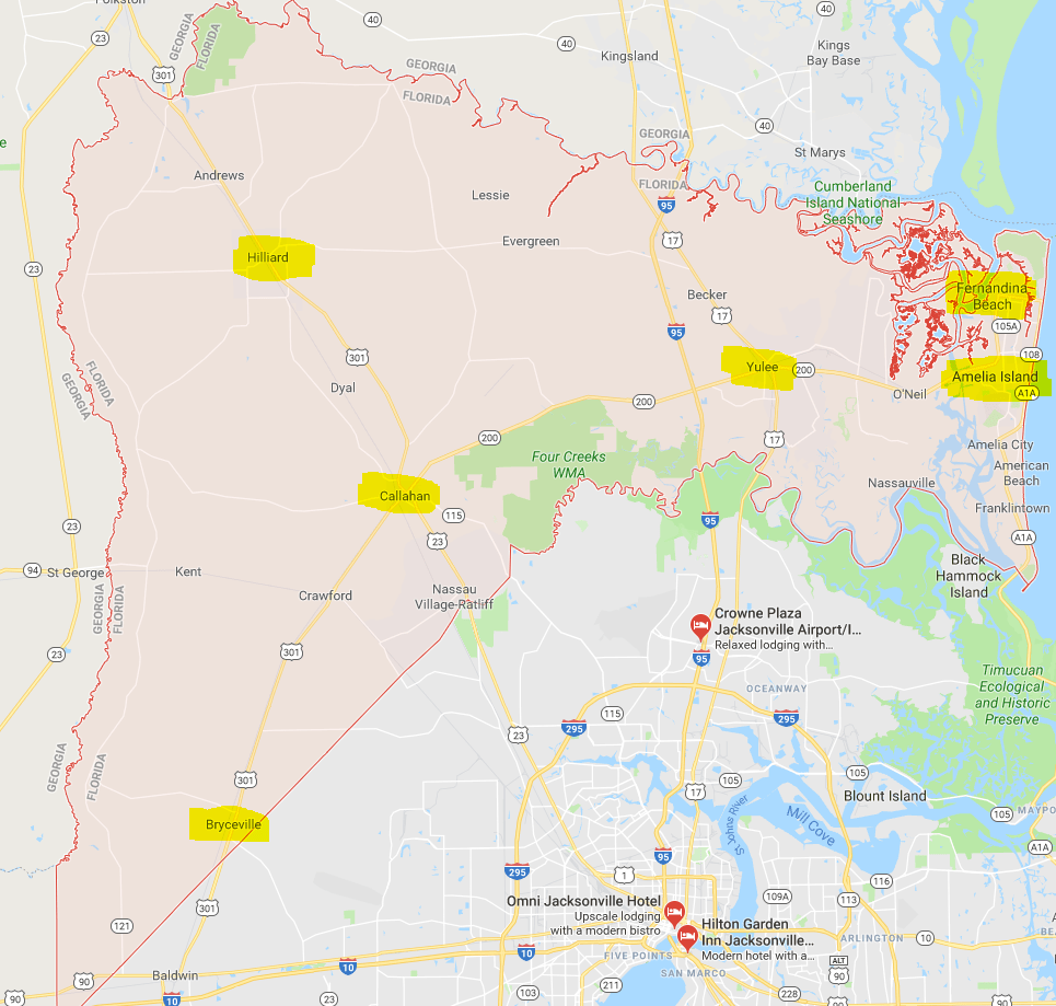 Map of Nassau County, Florida || Amelia Vacation Rentals