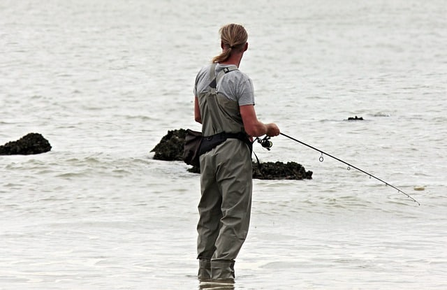 Man fishing in Amelia River in Florida