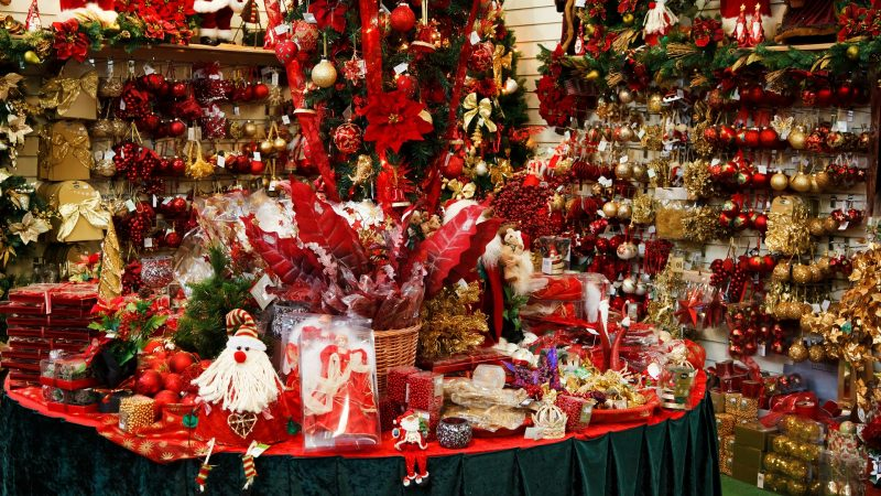 christmas decorations in a store display