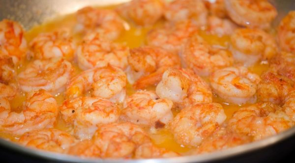 big bowl of shrimp cooking in amelia island